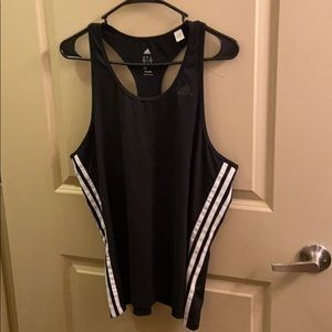 Adidas black and white strip workout tank top